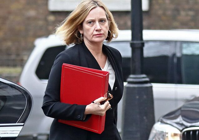 Britain's Home Secretary Amber Rudd arrives in Downing Street in London, Britain, April 12, 2018