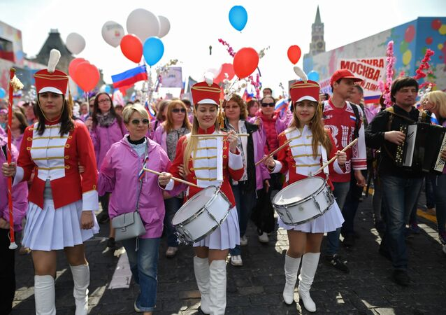 Participants of a May Day demonstration at Red Square in Moscow