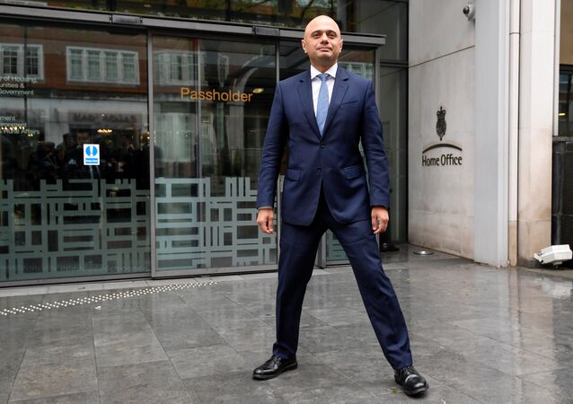 Sajid Javid stands outside the Home Office after being named as Britain's Home Secretary, in London, April 30, 2018.