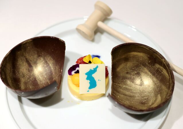 A dessert which will be served at the inter-Korean summit banquet is seen in this handout provided by the Presidential Blue House on April 24, 2018
