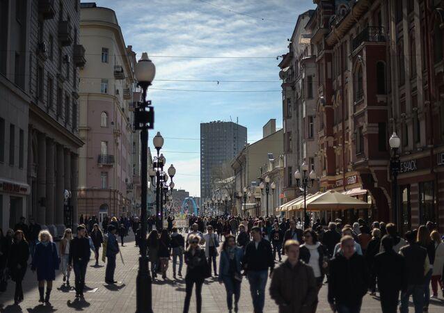 Pedestrians on Moscow's Arbat Street