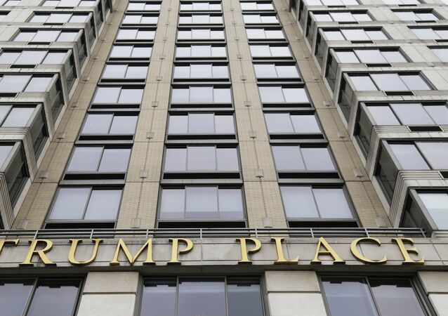 The gold letters spell out Trump Place on the front of a New York City condominium building, Thursday, Jan. 11, 2018.