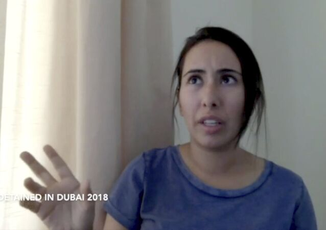 This undated image from video provided by Detained in Dubai, a London-based for-hire advocacy group long critical of the United Arab Emirates, shows Sheikha Latifa bint Mohammed Al Maktoum, a daughter of Dubai's ruler, in a 40-minute video in which she says she's planning on fleeing the country in Dubai, UAE