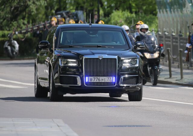 Aurus limousine of the President of the Russian Federation motorcade, part of the Cortege project