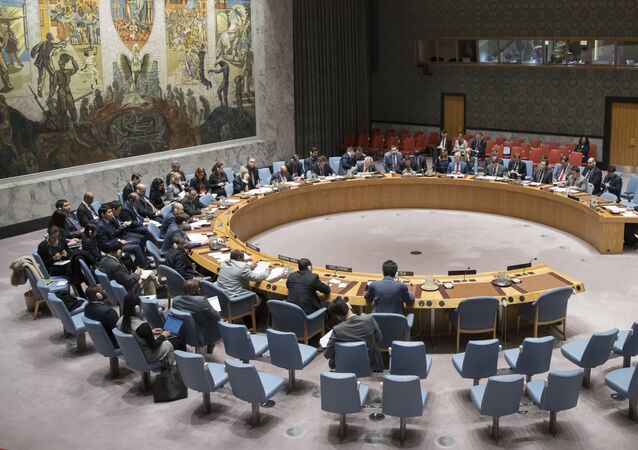 The United Nations Security Council meets on the situation in Gaza, Friday, March 30, 2018, at United Nations headquarters