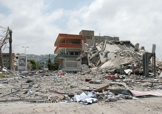 Building bombed by Israeli forces in Ghaziyeh on the road out of Sidon, south Lebanon during 2006 war.