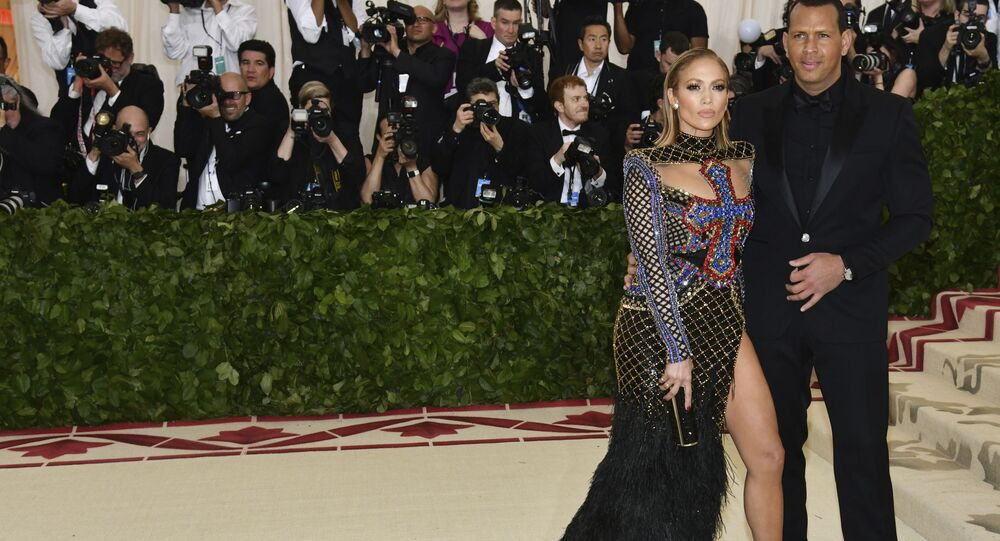 Jennifer Lopez, left, and Alex Rodriguez attend The Metropolitan Museum of Art's Costume Institute benefit gala celebrating the opening of the Heavenly Bodies: Fashion and the Catholic Imagination exhibition on Monday, May 7, 2018, in New York.