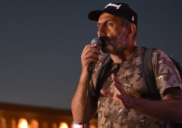 Armenian opposition leader Nikol Pashinyan at an evening rally on Republic Square in Yerevan