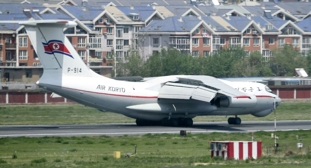 A North Korean Air Koryo airplane arrives at an airport in Dalian, Liaoning province, China, in this photo taken by Kyodo May 8, 2018