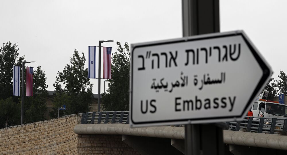A new road sign indicating the way to the new US embassy in Jerusalem is seen on May 7, 2018