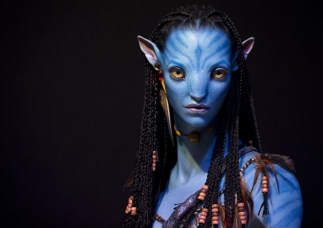 A bust in 3D by Legacy Effect of a character from the film Avatar is displayed in the  3 D Print Show exhibition in Paris on November 15, 2013