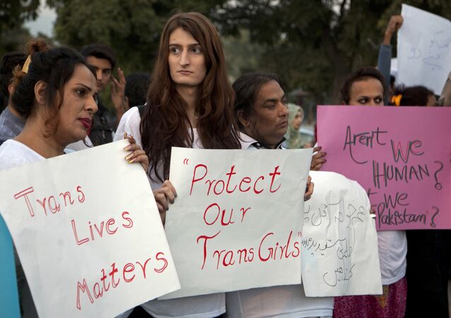 Members of Pakistan's transgender community and their supporters protest violence against transgender people, in Islamabad, Pakistan, Tuesday, Nov. 15, 2016. A Pakistani officer said police have arrested 10 members of a criminal gang who flogged a transgender person and posted the incident on social media. The arrests were made in the eastern Pakistani city of Sialkot after a video of the flogging was shared thousands of times on social media.