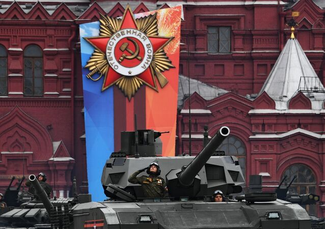 T-14 Armata tank during the final rehearsal of the Moscow military parade, dedicated to the WWII Victory Day in Europe.