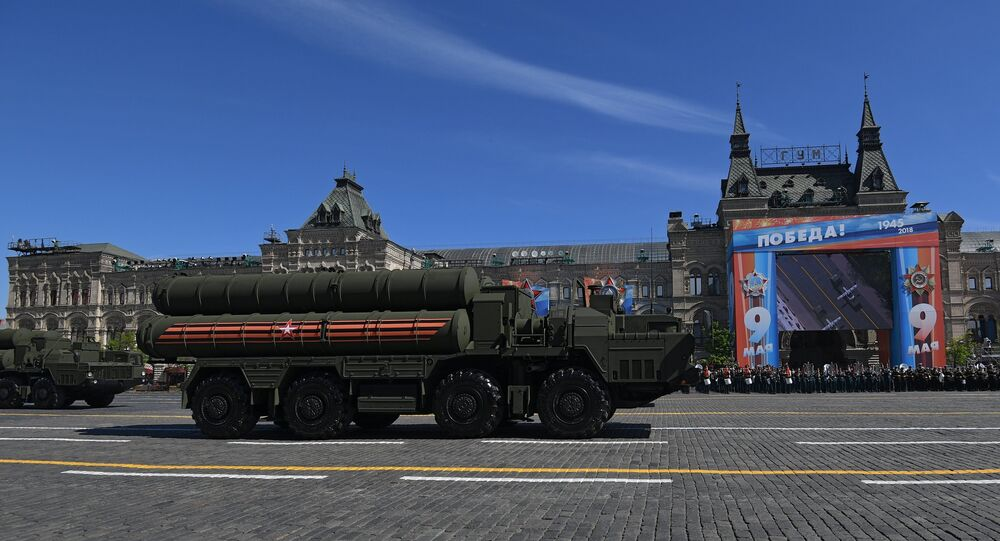 The transport launcher of the surface-to-air missile Triumph S-400 missile system on the military parade devoted to the 73rd anniversary of the victory in the Great Patriotic War of 1941-1945