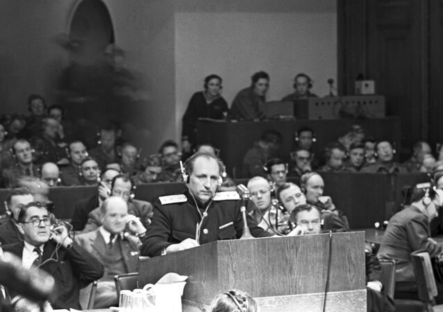 Lieutenant General Rudenko, chief prosecutor on behalf of the USSR, at the Nuremberg Trials. World War II, 1941-1945