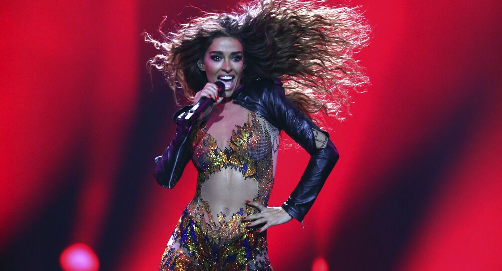Eleni Foureira from Cyprus performs the song 'Fuego' in Lisbon, Portugal, Tuesday, May 8, 2018 during the first semi-final for the Eurovision Song Contest.