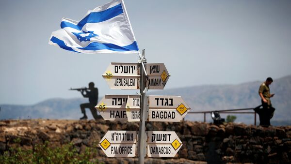 An Israeli soldier stands next to signs pointing out distances to different cities, on Mount Bental, an observation post in the Israeli-occupied Golan Heights that overlooks the Syrian side of the Quneitra crossing, Israel May 10, 2018 - Sputnik International
