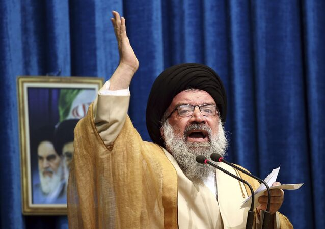Iranian senior cleric Ahmad Khatami delivers his sermon during Friday prayer ceremony in Tehran, Iran, Friday, Jan. 5, 2018