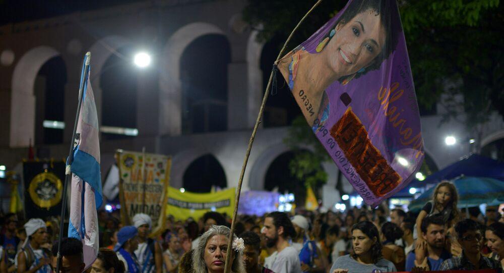 Demonstrators protest about the assassination of Rio de Janeiro city councillor Marielle Franco