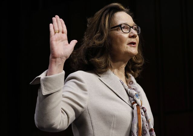 Acting CIA Director Gina Haspel is sworn in prior to testifying at her Senate Intelligence Committee confirmation hearing on Capitol Hill in Washington, U.S., May 9, 2018