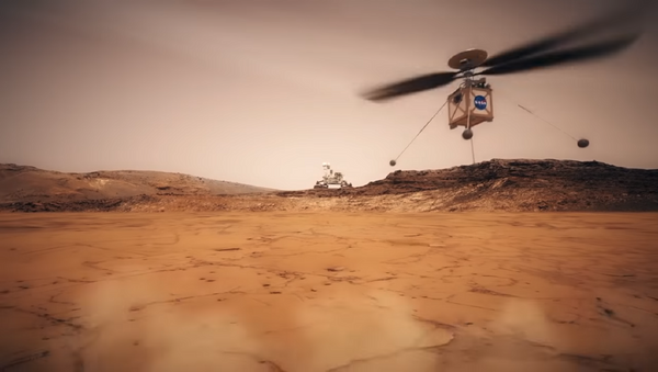 Still shot from a NASA animated video showing what their Mars Helicopter would look like in action. - Sputnik International
