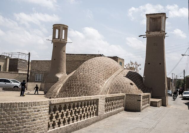 View of Nushabad from a street, in Isfahan city in Iran.