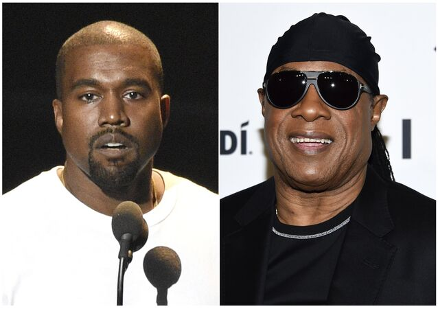 In this combination photo Kanye West speaks at the MTV Video Music Awards in New York on Aug. 28, 2016, left, and Stevie Wonder attends the TIDAL X: Brooklyn 3rd Annual Benefit Concert in New York on Oct. 17, 2017