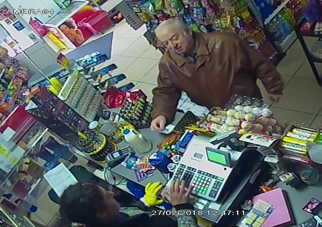 In this Feb. 27, 2018 grab taken from CCTV video provided by ITN on Wednesday, March 7, 2018, former GRU agent Sergei Skripal shops at a store in Salisbury, England