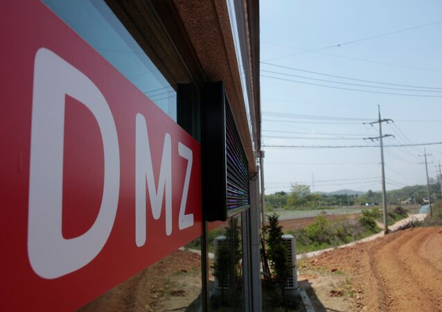 A sign advertising properties within and along the demilitarized zone (DMZ) which separates the two Koreas, is seen at a real estate agency in Munsan, South Korea May 10, 2018.