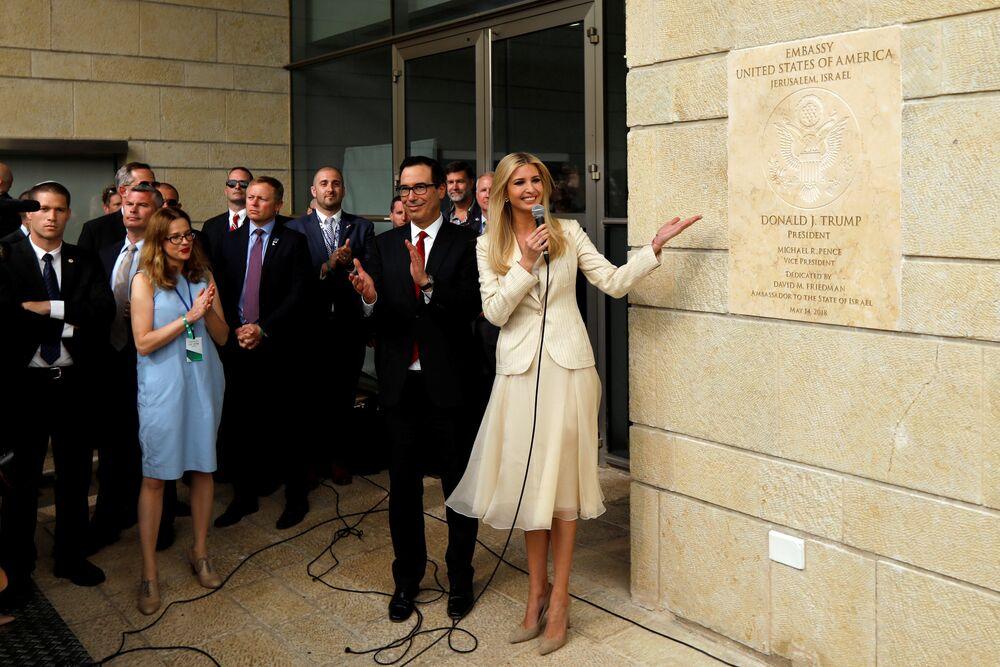 Senior White House Adviser Ivanka Trump and U.S. Treasury Secretary Steven Mnuchin stand next to the dedication plaque at the U.S. embassy in Jerusalem, during the dedication ceremony of the new U.S. embassy in Jerusalem, May 14, 2018