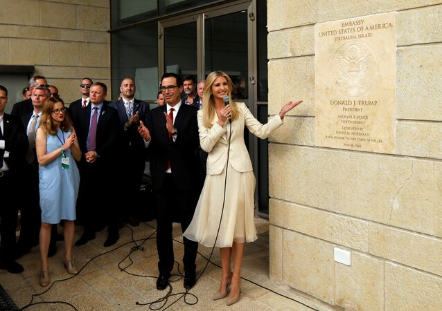 Senior White House Adviser Ivanka Trump and U.S. Treasury Secretary Steven Mnuchin stand next to the dedication plaque at the U.S. embassy in Jerusalem, during the dedication ceremony of the new U.S. embassy in Jerusalem, May 14, 2018