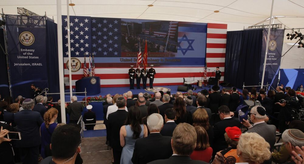 Presentation of colors by US Marines and singing of the U.S national anthem during the opening ceremony of the new US embassy in Jerusalem, Monday, May 14, 2018.