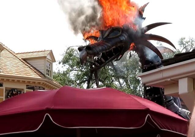 Fantasy Parade Dragon Catches Fire at Theme Park