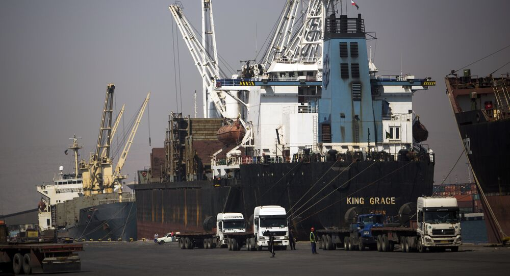 A cargo ship dockside to unload the shipping containers at Shahid Rajaee port, some 20 kms west of Gulf port city of Bandar Abbas on February 21, 2016