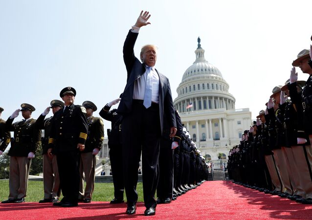 U.S. President Donald Trump arrives to give remarks at the 37th Annual National Peace Officers' Memorial Service at the U.S. Capitol in Washington, U.S., May 15, 2018
