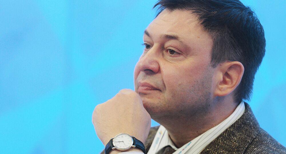 RIA Novosti Ukraine's Editor-in-Chief Kirill Vyshinsky at the 2015 Forum of European and Asian Media (photo from archieve). Kirill Vyshinsky was arrested by the Ukrainian Security Service in Kiev