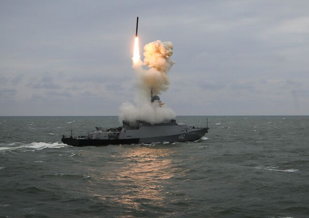 The Grad Sviyazhsk corvette shoots the Kalibr missile during the final stage of summer exercises of the Caspian Flotilla's battle groups