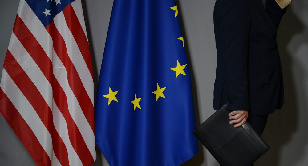 Flags of the United States and the European Union in Brussels