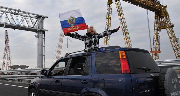 A car on the Crimean Bridge