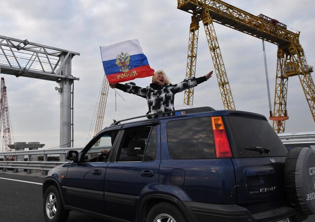 A car on the Crimean Bridge