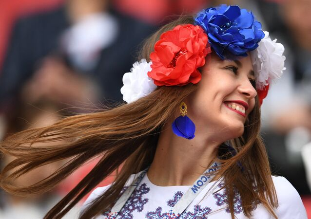 A Russian fan is seen here ahead of the 2017 FIFA Confederations Cup match between Mexico and Russia