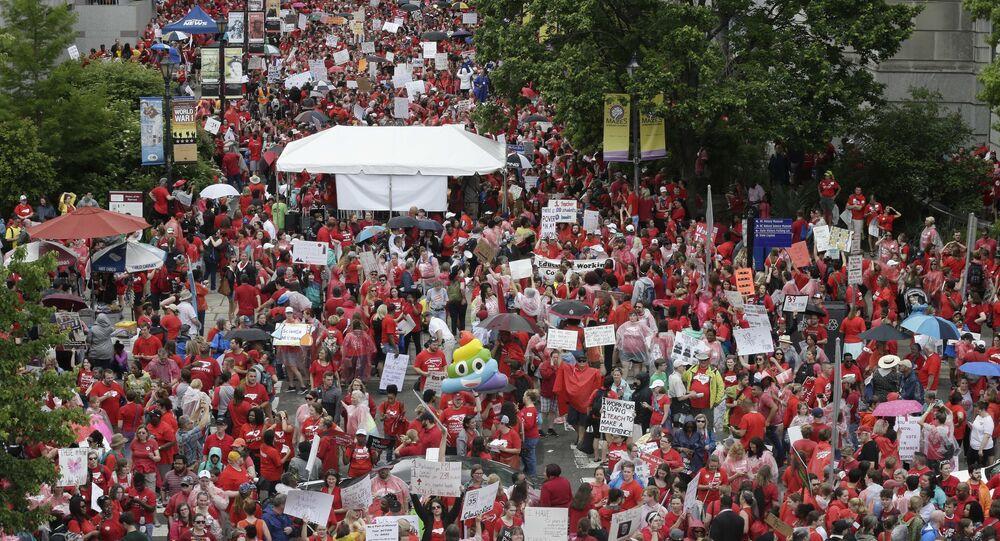TEACHER PROTESTS NORTH CAROLINA