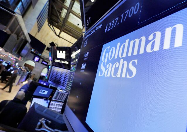 The logo for Goldman Sachs appears above a trading post on the floor of the New York Stock Exchange (File)
