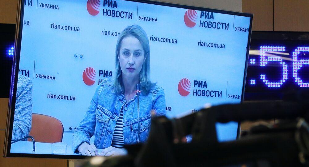 Irina Vyshinskaya, the wife of journalist Kirill Vyshinsky, during a press videoconference in Moscow and Kiev