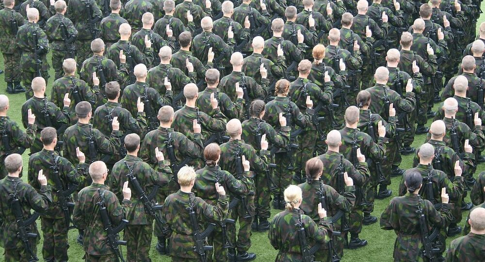 Finnish conscripts giving their military oath