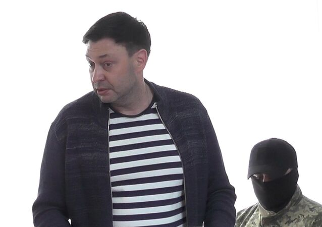 Head of the RIA Novosti Ukraine website Kirill Vyshinsky in the court of Kherson on suspicions of high treason and support of the self-proclaimed Donbass republics.