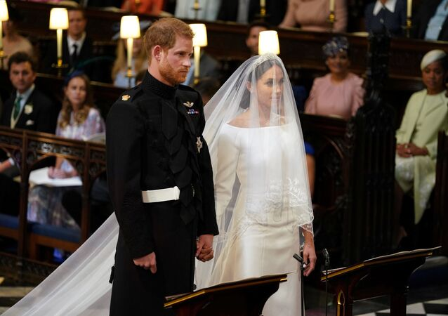 Prince Harry and Meghan Markle in St George's Chapel at Windsor Castle for their wedding in Windsor, Britain, May 19, 2018
