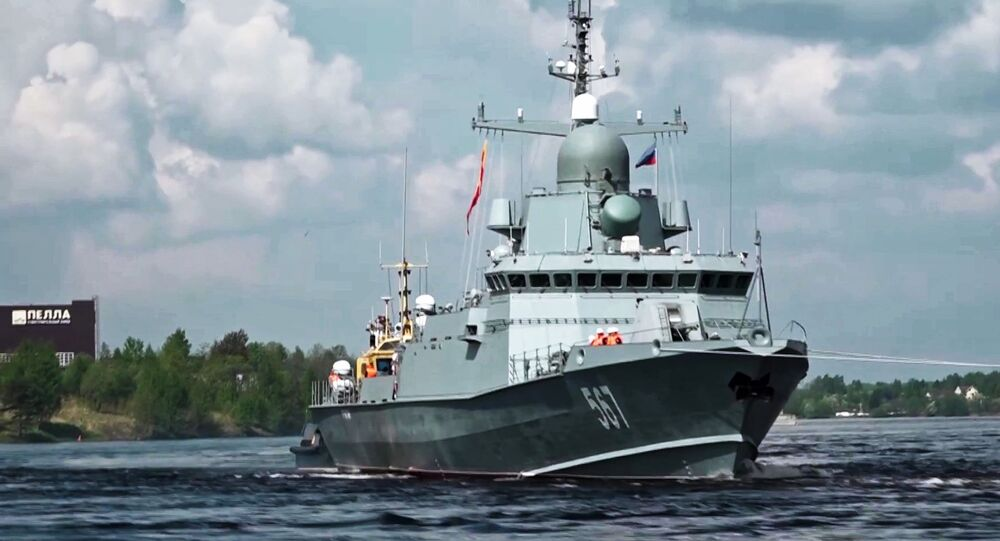 The Project 22800 Karakurt-class missile corvette Uragan during the first stage of the trials in Lake Ladoga