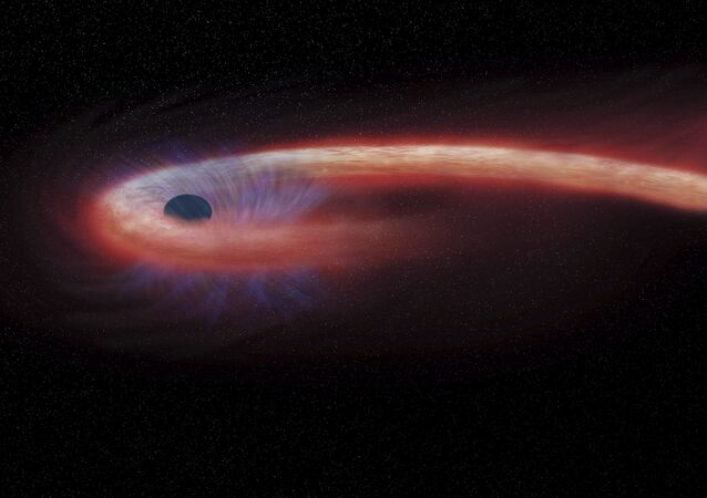 artist rendering provided by NASA shows a star being swallowed by a black hole