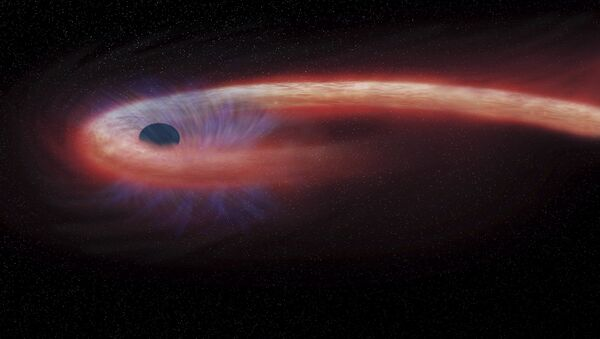 artist rendering provided by NASA shows a star being swallowed by a black hole - Sputnik International